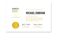 Diploma of The Switch Design Academy & Studio / International Graphic Design School in Florence, Italy